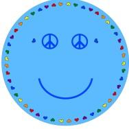 Matta rund - Smile - ljusblå