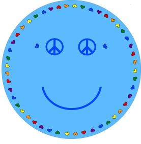 Matta rund - Smile - ljusblå - Rund matta 1 m diameter