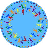 Matta rund - Hand i hand - ljusblå