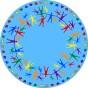 Matta rund - Hand i hand - ljusblå - Matta rund 2 m diameter