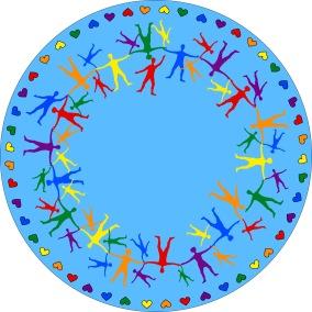 Matta rund - Hand i hand - ljusblå - Matta rund 1 m diameter