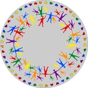 Matta rund - Hand i hand - ljusgrå - Matta rund 1 m diameter