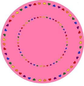 Matta rund - Give love - rosa - Rund matta 1 m diameter