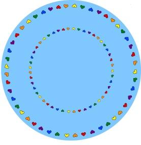 Matta rund - Give love - ljusblå - Rund matta 1 m diameter