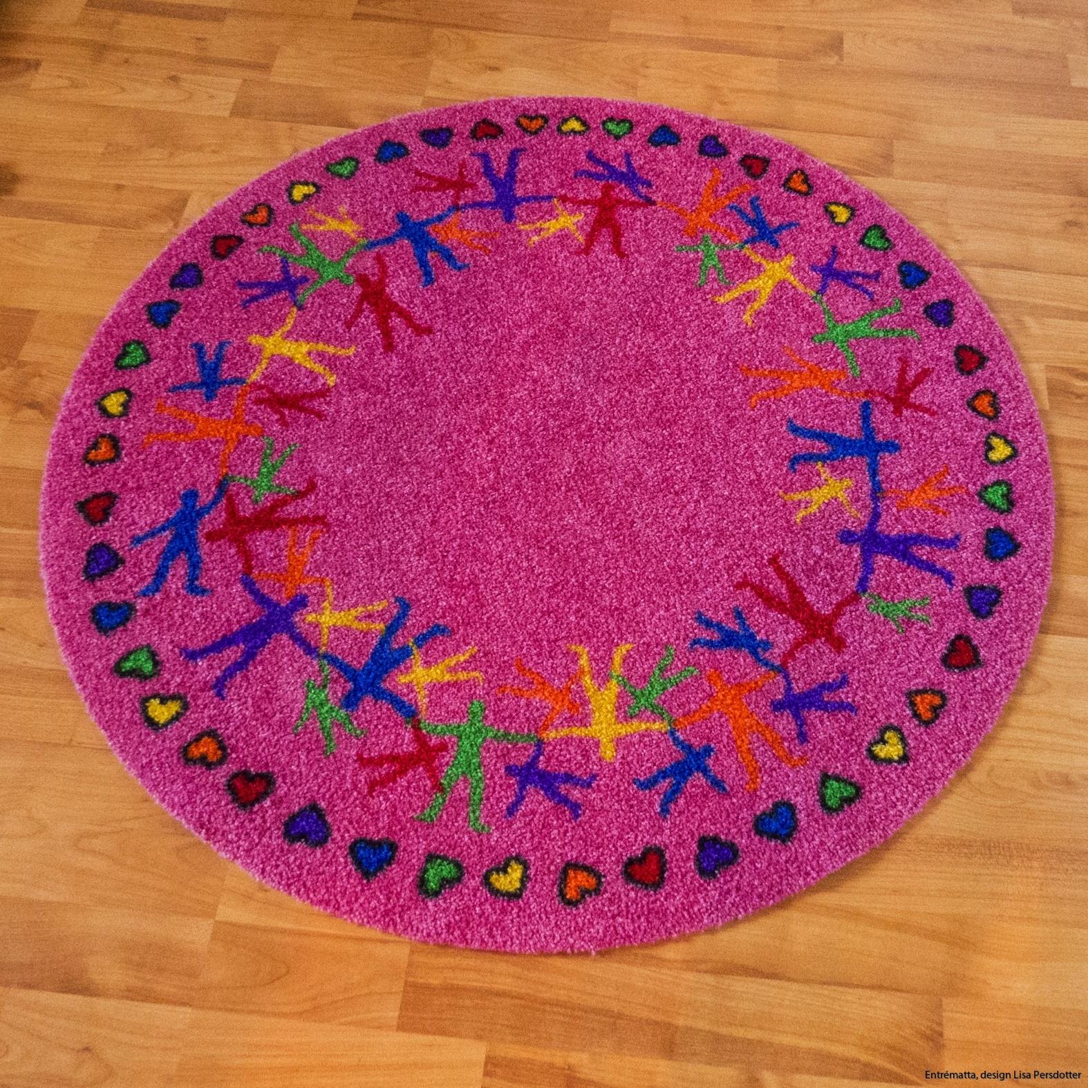 Rund  rosa matta barn colorjoy