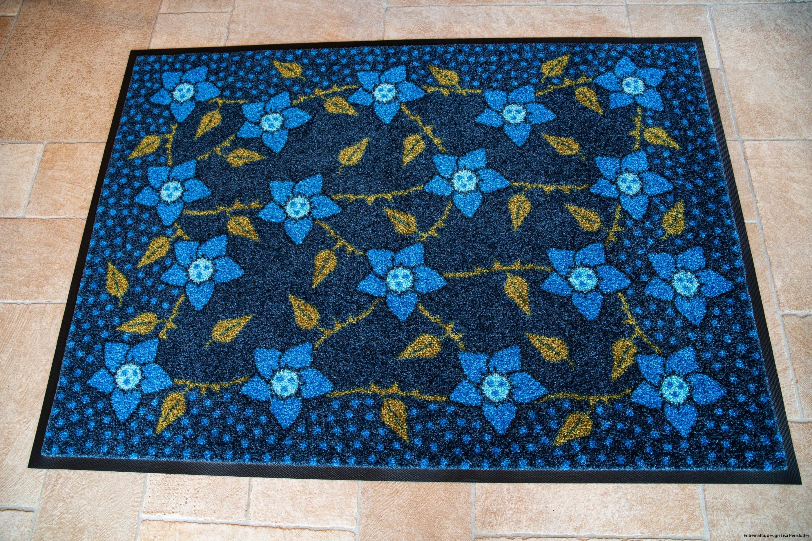 Blommor blå entrematta design maskintvätt 60