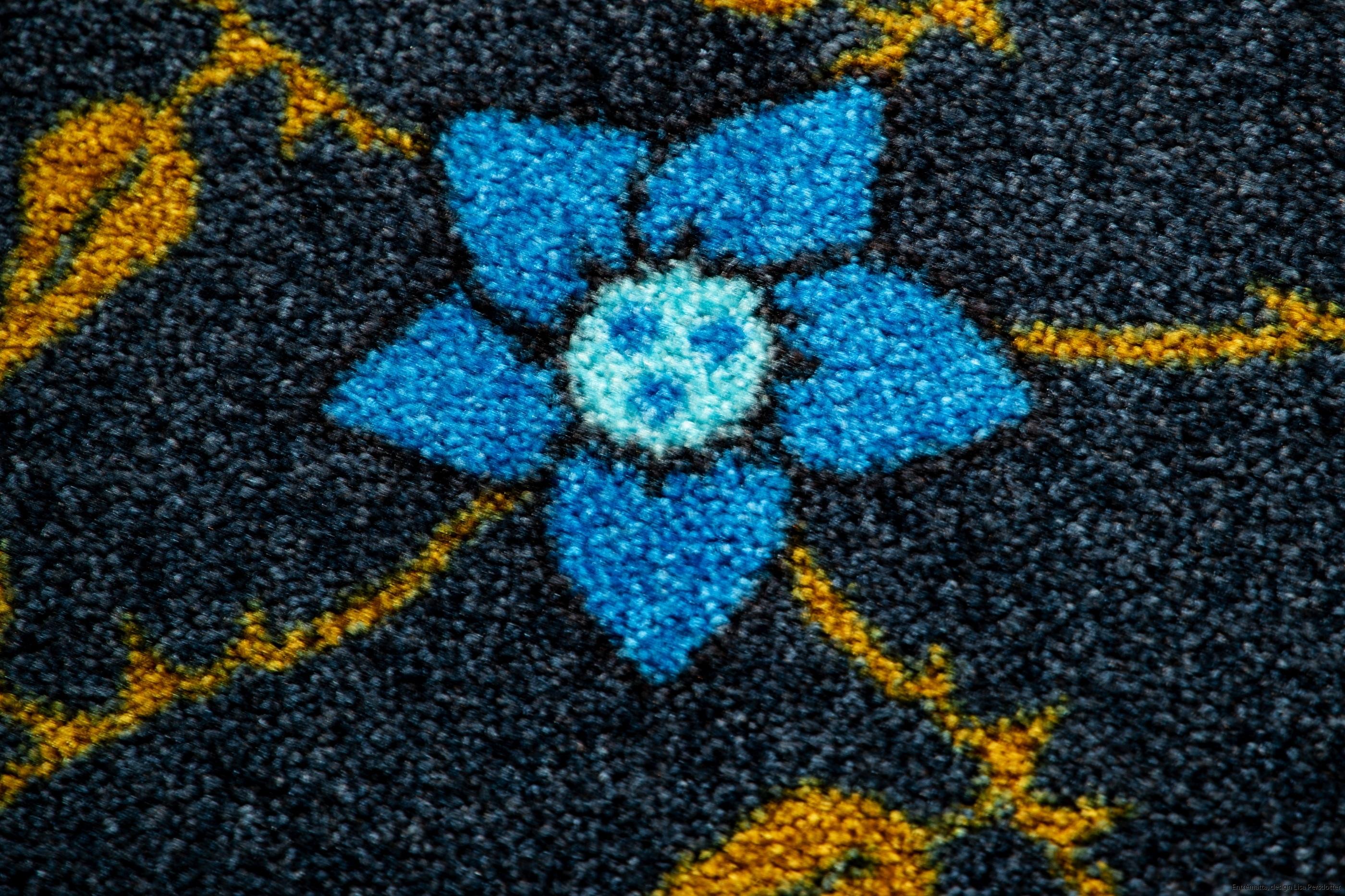 Blomma blå entrematta design maskintvätt 60