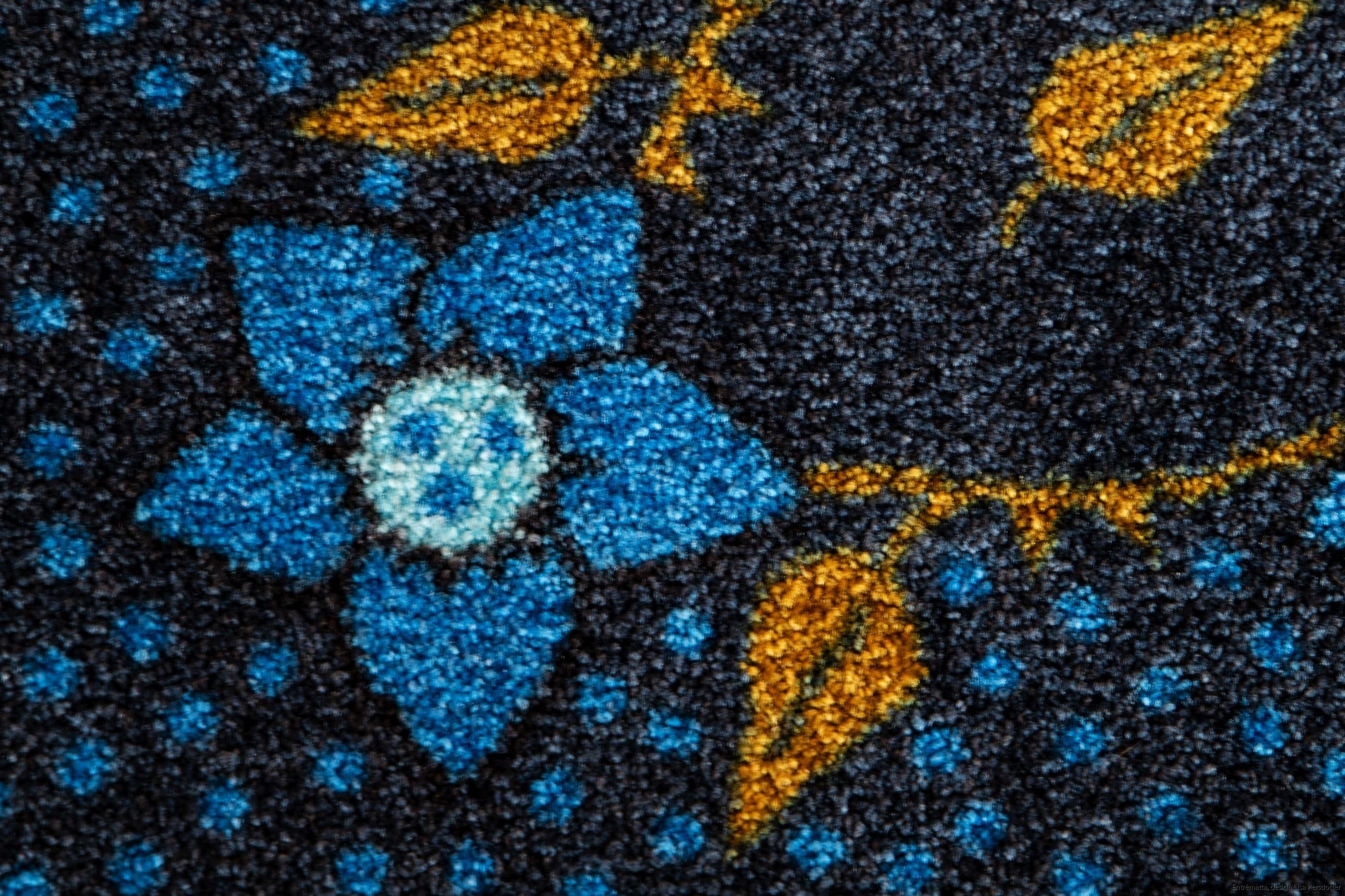 Blomma blå entrematta design maskintvätt 60_2