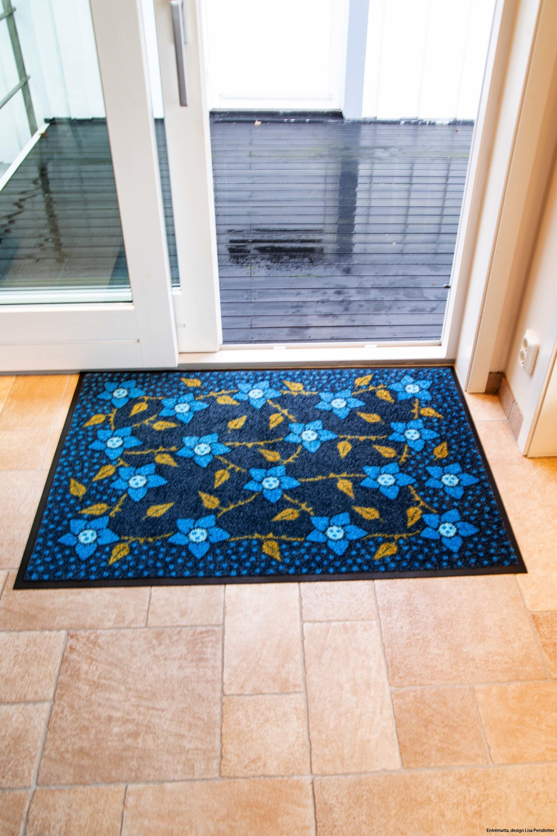 Blomma blå dörrmatta design maskintvätt 60_1