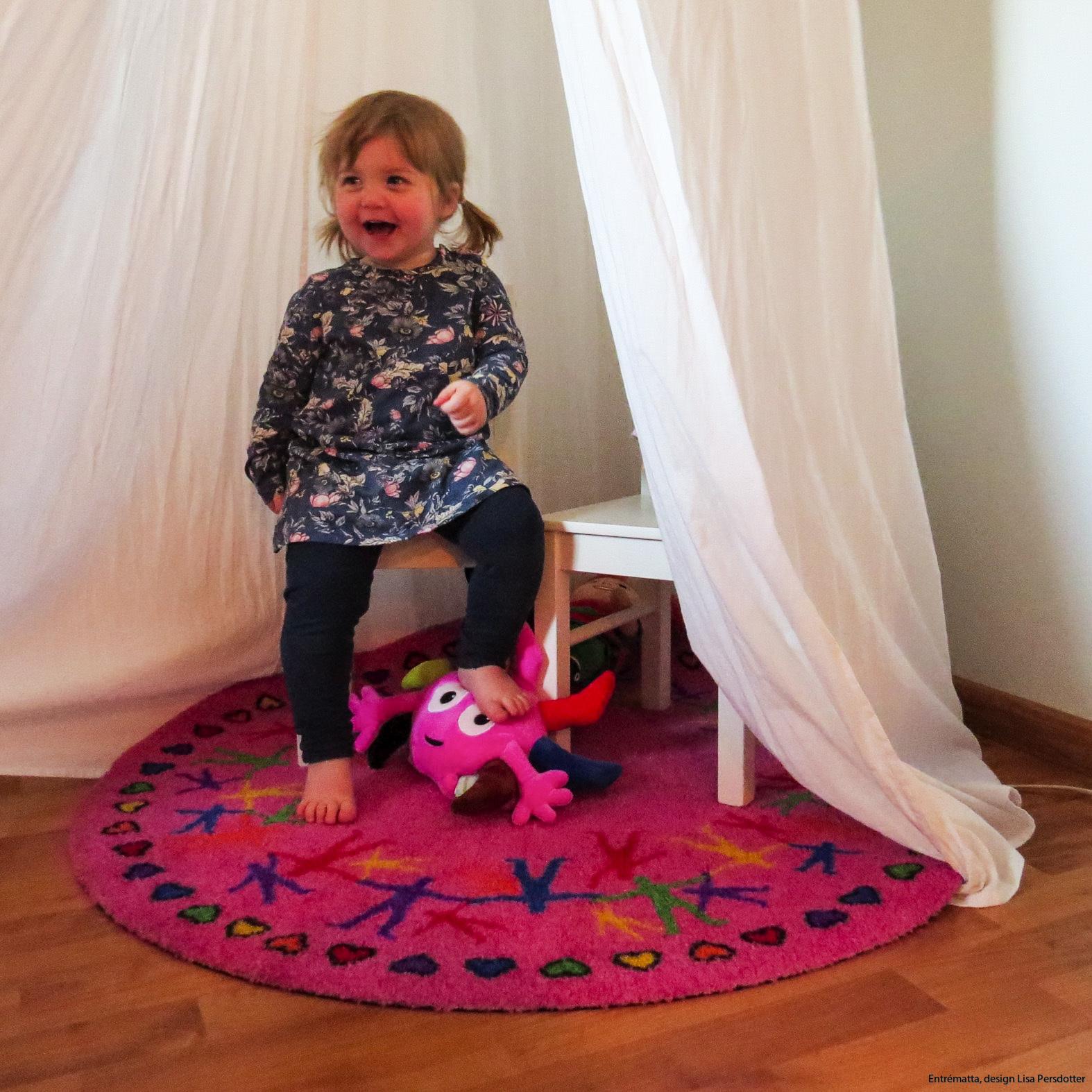 Rund matta rosa lekrum colorjoy