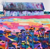 The barn: 100x100cm, oil on canvas - Price upon request