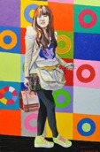 Shanghai girl: 80x120cm, mixed media, oil and glitter on canvas