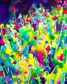 Night meadow: A3, mixed media on paper - SOLD
