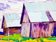 Twin barns: 40x30 cm, oil on canvas - Price upon request