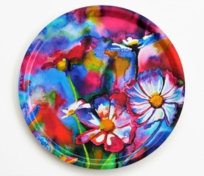 Rainbow flowers tray - Serving tray  - red/pink