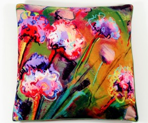 Beach flowers pillow cover -