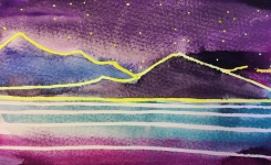 Anna's dream - purple blue: watercolour on paper, 25.4x16 - Price upon request