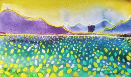 Anna's dream - yellow green: watercolour on paper, 25.4x16 - Price upon request