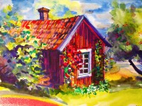Björkfors: Water colour and soft pastels on paper - SOLD