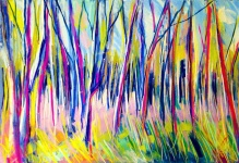 Abstract woodland: A3, soft pastels on paper - Price upon request