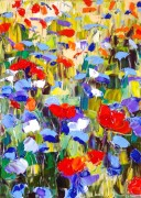 Abstract flower field: 30x40 cm, oil on canvas - SOLD