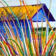 Beach hut: 50x50 cm, oiloncanvas - SOLD