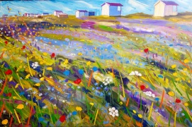 Beach huts (Flommen): 80x120 cm, oil on canvas - SOLD