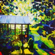 Garden peace: 100x100cm, oil on canvas - Price upon request