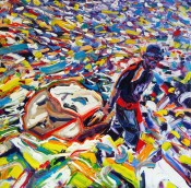 The trash collector: 100x100 cm, oil on canvas - price upon request