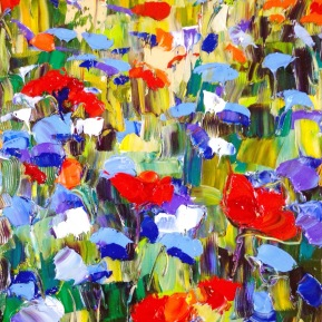 Abstract flower field: 30x40 cm, oil, 2017, Anna Afzelius-Alm - SOLD