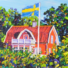 Red house: 60x80 cm, oil on canvas -SOLD