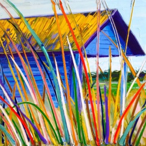 Beach hut: 50x50 cm, oiloncanvas - SOLD