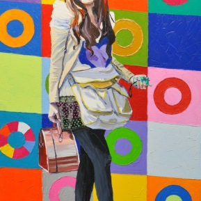 Shanghai girl: 80x120cm, mixed media, oil and glitter on canvas