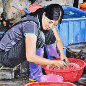 Mussle cleaner: 120x80cm, oil on canvas, sold