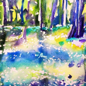 Kinnekulle ramson 2: watercolor on paper, 25,4x17,8 cm - SOLD