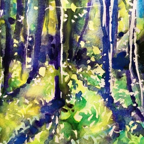 Kinnekulle ramson 3: watercolor on paper, 25,4x17,8 cm - SOLD
