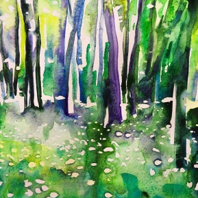 Kinnekulle ramson 5: watercolor on paper, 25,4x17,8 cm - SOLD