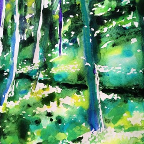 Kinnekulle ramson 6: watercolor on paper, 25,4x17,8 cm - SOLD