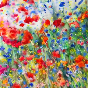 Meadow dream 2: 76x56 cm, watercolor and soft pastels on paper - price upon request