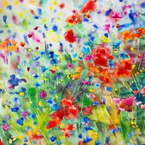 Meadow dream 1: 76x56 cm, watercolor and soft pastels on paper - SOLD