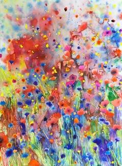 Original watercolor - Explosion -