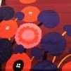 Annansilmä Satin röd bakgrund (pris per decimeter) - Annansilmä Satin röd bakgrund
