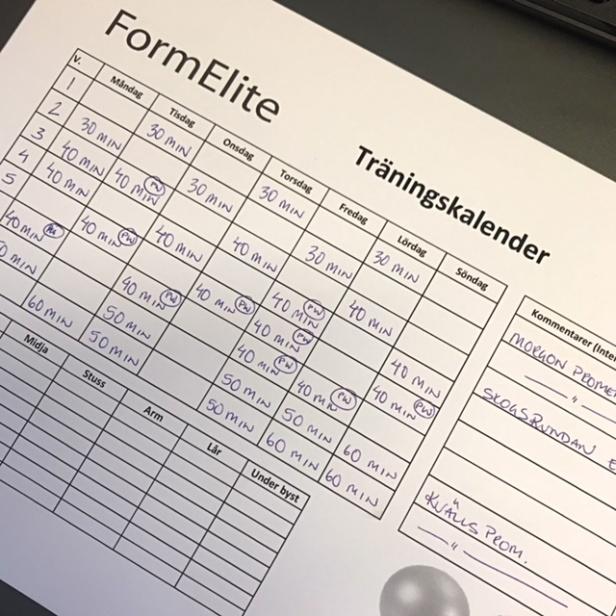 Formelite träningskalender