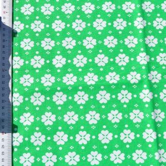 Stuv retro bomull grön med vit klöver -