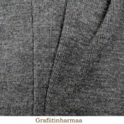 Ribbstickad merinoull, grå