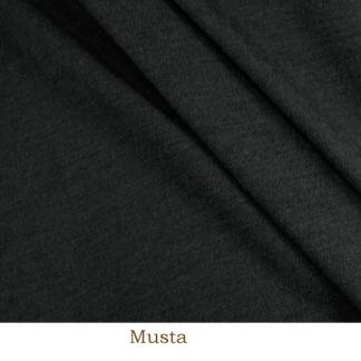 Ribbstickad merinoull, svart -