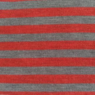 Ullinterlock röd och grå randig - Ullinterlock röd och grå randig