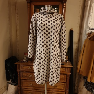 Merinollsklänningar - Smartdress stlk XL stjärnor plommon/offwhite