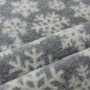 Ullfleece grå med vita snöflingor