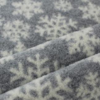 Ullfleece grå med vita snöflingor - Ullflecce ljusgrå med snöflinga
